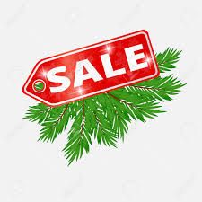 Christmas Sale Banner Fir Tree Branches With Isolated On White Background Stock Vector