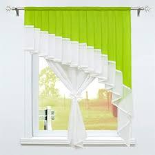 schoal scheibengardine landhaus bistrogardine mit tunnelzug voile gardinen transparent vorhänge wohnzimmer bxh 140x140 cm 1 stück grün