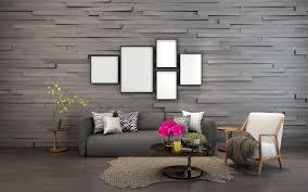 modernes wohnzimmer mit bilderrahmen an der wand premium foto