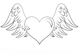 Click To See Printable Version Of Heart With Wings Coloring Page
