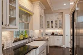 Traditional White Galley Kitchen With Farmhouse Sink