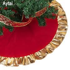 Aytai 90cm Red Christmas Tree Skirt Golden Edge Gold Ruffle Bow Cover Base Decoration Xmas
