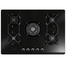 Exxcel 5 burner gas hob with wok style burner premium black with