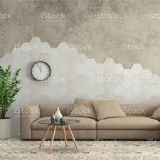 minimalistische moderne interieur wohnzimmer mit sofa und sechseck fliesen an der wand stockfoto und mehr bilder architektur