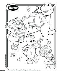 Barney Baby Bop Playing Instruments Coloring Page Printable Colouring Pages Online Free Full Size