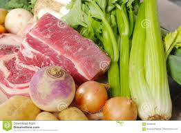 beef and vegetables for the preparation of pot au feu stock photo