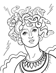 Homework Printable Medusa Coloring Page