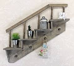 Wall Hanging Shelf Display Cabinet Unit Shabby Chic Vintage Rustic Style Hooks 1 Of 2