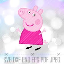 Peppa Pig With Stars Pumpkin Stencil by Peppa Pig Svg Dxf Png Vector Cut File Cricut Designs