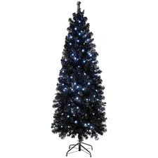 Slim Pre Lit Christmas Trees by Pre Lit Slim Black Christmas Tree With 200 White Led Lights 6 Ft