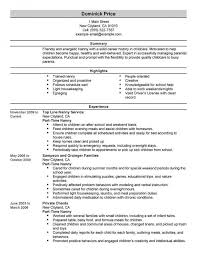 Child Care Resume Objective From Unique Examples Daycare