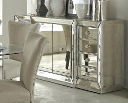 Contemporary Living Room Area With 4 Corner Shelves Mirrored Buffet Table