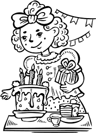 coloring sheet of a girls birthday party for kids Coloring Point