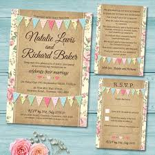 Pastel Bunting Wedding Invitation Set Includes Invite RSVP Gift Poem Or