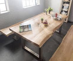 delife baumtisch live edge 260x100 akazie gebleicht platte 5 5cm gestell breit esstische baumkantenmöbel massivholzmöbel massivholz baumkante
