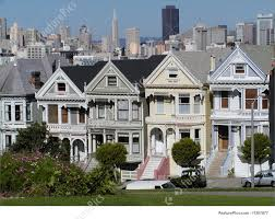 100 Victorian Property Houses Called Seven Ladies In San Francisco Stock Picture