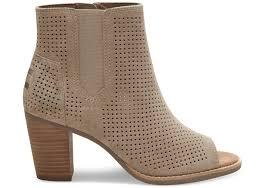 stucco suede perforated women u0027s majorca peep toe booties toms