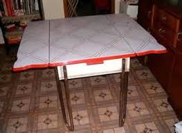 RED WHITE PORCELAIN ENAMEL ART DECO KITCHEN TABLE 1930S