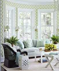 Style Sunroom Design With Rhombus Pattern Wall Decor Also Unique Rattan Chair And Amazing Lamp Lighting For Small Interior Decorating Ideas