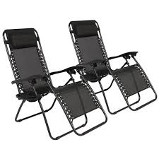 Reclining Camping Chairs Ebay by Zero Gravity Chairs Case Of 2 Black Lounge Patio Chairs Outdoor