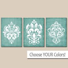 DAMASK BATHROOM Wall Art CANVAS or Prints Aqua Bathroom