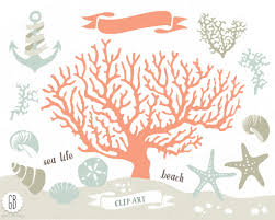 Coral Beach Sea Life Vector Clip Art Corals Starfish Sand