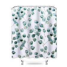 hoomall duschvorhang 180x180cm anti schimmel badezimmer deko wasserdichte waschbar shower curtain mit 12 ringe 3d grün pflanzen weiss
