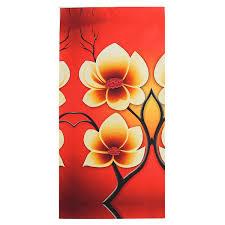 TEMPSA 4pcs Peinture Huile Toile Fleurs Tableau Abstrait Art Déco