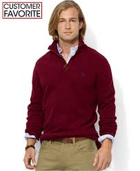 polo ralph lauren french rib half zip pullover sweater in purple