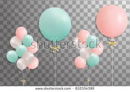 Bunches of helium balloons isolated on transparent background Frosted party balloon for event design