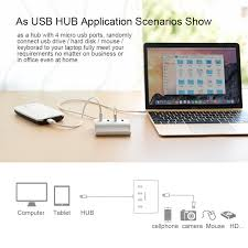 Ugreen Micro USB 4 Port OTG HUB with Phone Stand USB 2 0 Adapter