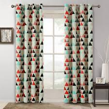 Teal Blackout Curtains Pencil Pleat by Pattern Curtains Geometric American Style Room Kids Decoration