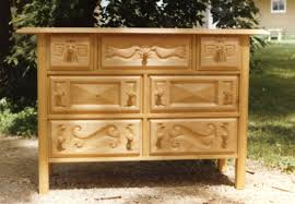 Custom Made Hand Carved Mexican Wooden Drawer Chest
