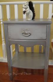 Nightstand painted in Annie Sloan Paris Grey Pure White and Modern