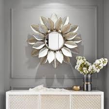 großhandel moderne schmiedeeisen wandbehang dekorative spiegel 3d wandbild handwerk ktv heim wohnzimmer hintergrund metall ornament dekor olgar
