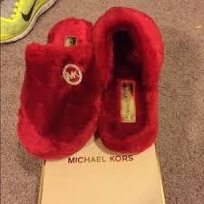 kors red slippers