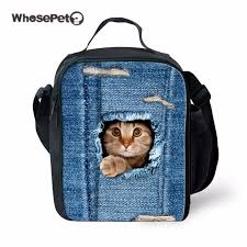 WHOSEPET Blue Lunch Bags For Kids Girls Children Cute Cat Print School Lunchbox Bag Insulated Shoulder