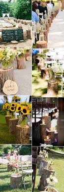 Country Rustic Wedding Aisle Decoration Ideas With Tree Stumps