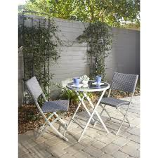 Cosco Folding Chairs And Table by Cosco Delray Transitional 3 Piece Steel Blue U0026 Gray Woven Wicker