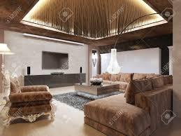 luxus modernen wohnzimmer im deco stil in dunklen brauntönen getan das design ist in braun und gelb farbe 3d übertragen