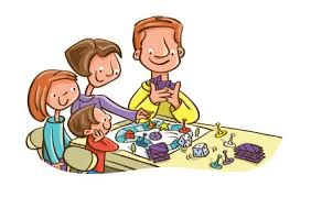 Cartoon Family Playing Games Clipart