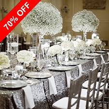PONY DANCE Stylish Glitter Sequins Table Cloth Decorative Sequin Fabric Mesh Material Tablecloth Cover For Rectangle Tables Sparkly Party Wedding Christmas
