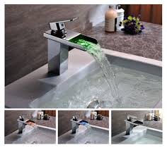 Wall Mounted Waterfall Faucets Bathroom by Contemporary Solid Brass Single Handle Led Waterfall Bathroom Sink