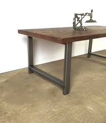 reclaimed wood coffee table walnut finish industrial h shaped