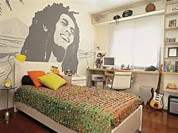 Bob Marley Bedroom Wall Design Teen Boy Ideas Wood Bed Frame Laminate Floor Bookshelves Swivel Chair