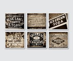 Rustic Brown Kitchen Decor Prints Or Canvas Set Of 6 Sepia