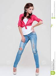 woman in blue jeans and red shirt royalty free stock image image