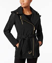 MICHAEL Michael Kors Asymmetrical Quilted Sleeve Trench Coat