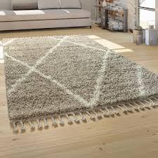 hochflor teppich wohnzimmer shaggy skandinavischer stil mit fransen beige creme grösse 120x170 cm