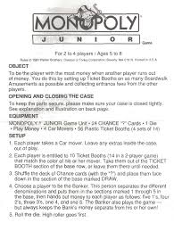 Instructions To Monopoly Board Game Instruction